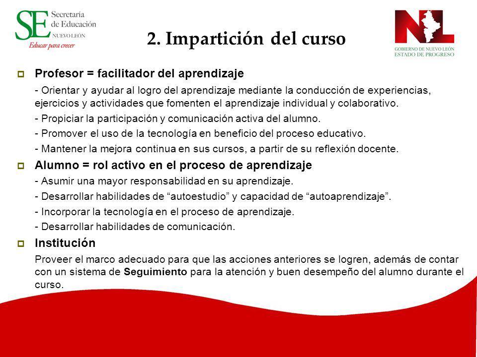 2. Impartición del curso Profesor = facilitador del aprendizaje