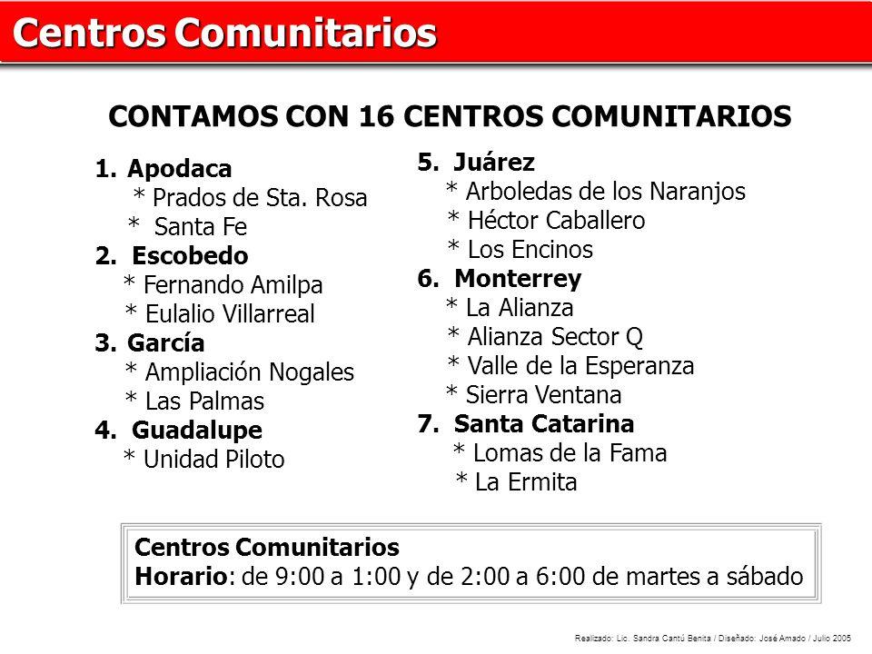 Centros Comunitarios CONTAMOS CON 16 CENTROS COMUNITARIOS 5. Juárez