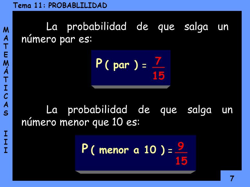 P P La probabilidad de que salga un número par es: 7 ( par ) = 15