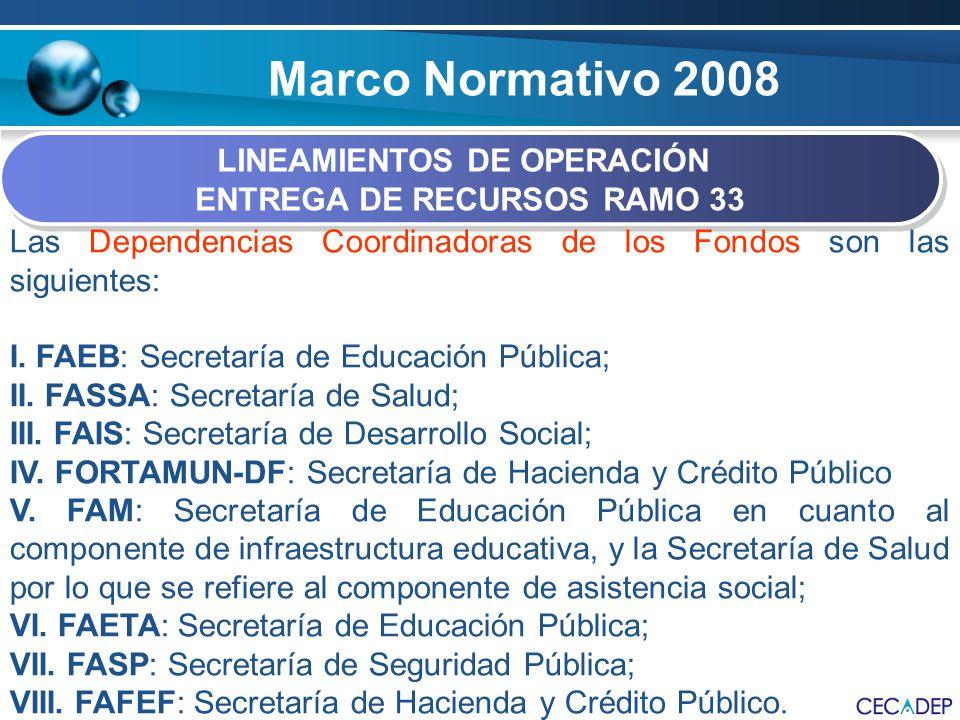 LINEAMIENTOS DE OPERACIÓN ENTREGA DE RECURSOS RAMO 33