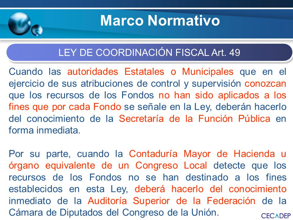 LEY DE COORDINACIÓN FISCAL Art. 49