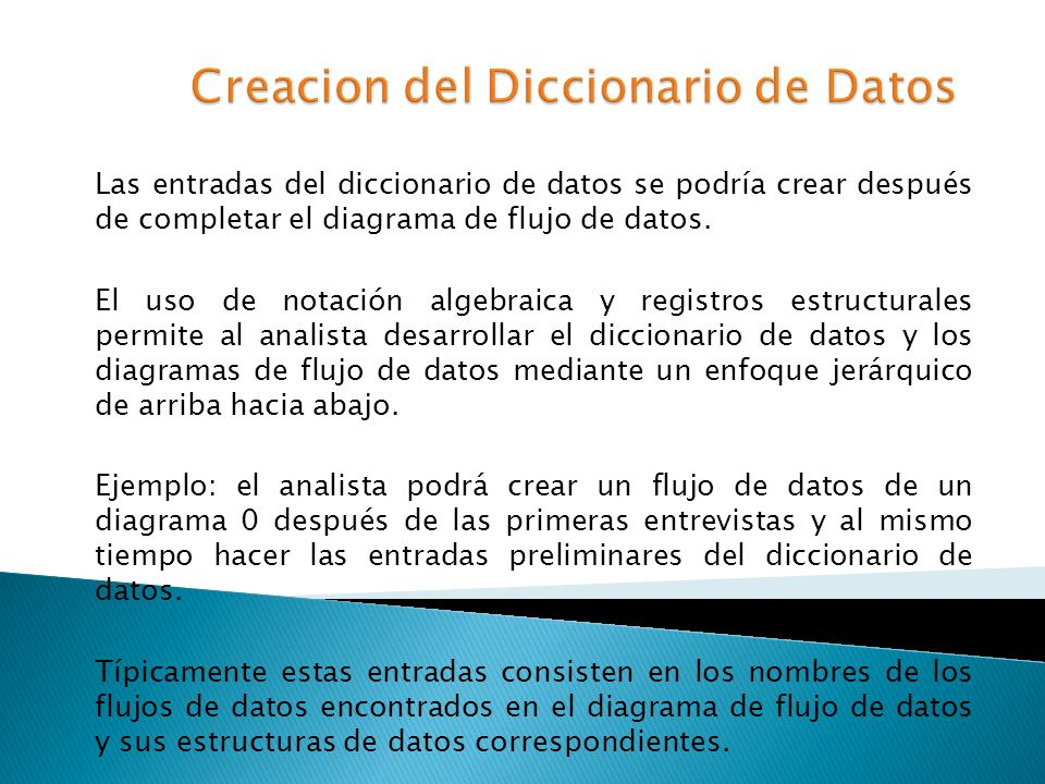 Creacion del Diccionario de Datos