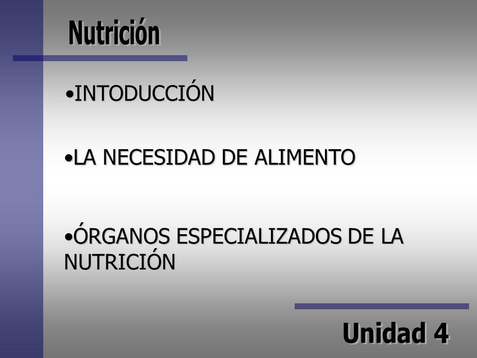 INTODUCCIÓN LA NECESIDAD DE ALIMENTO ÓRGANOS ESPECIALIZADOS DE LA NUTRICIÓN
