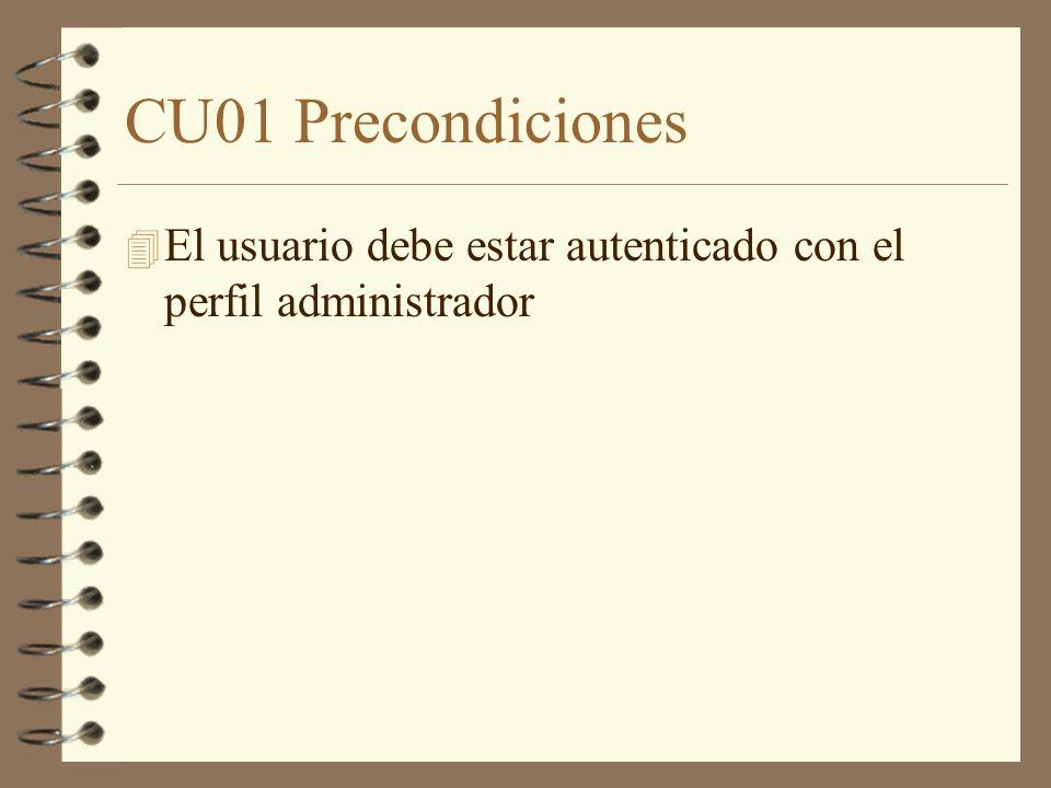 CU01 Precondiciones El usuario debe estar autenticado con el perfil administrador