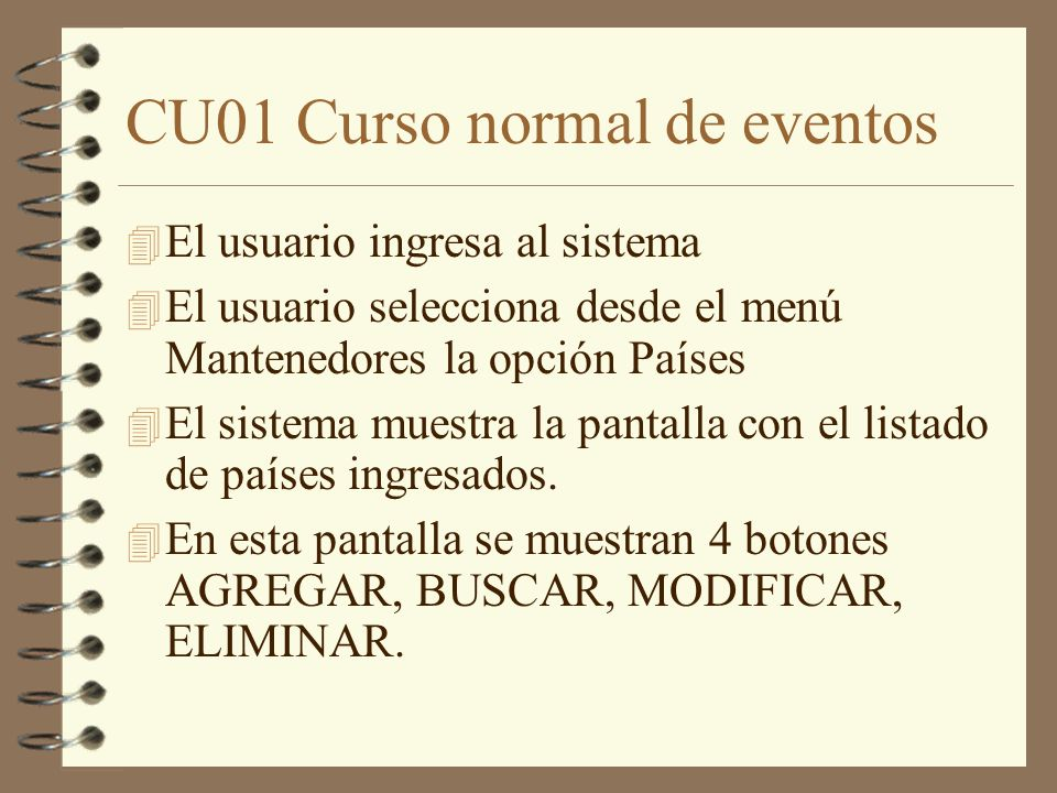 CU01 Curso normal de eventos