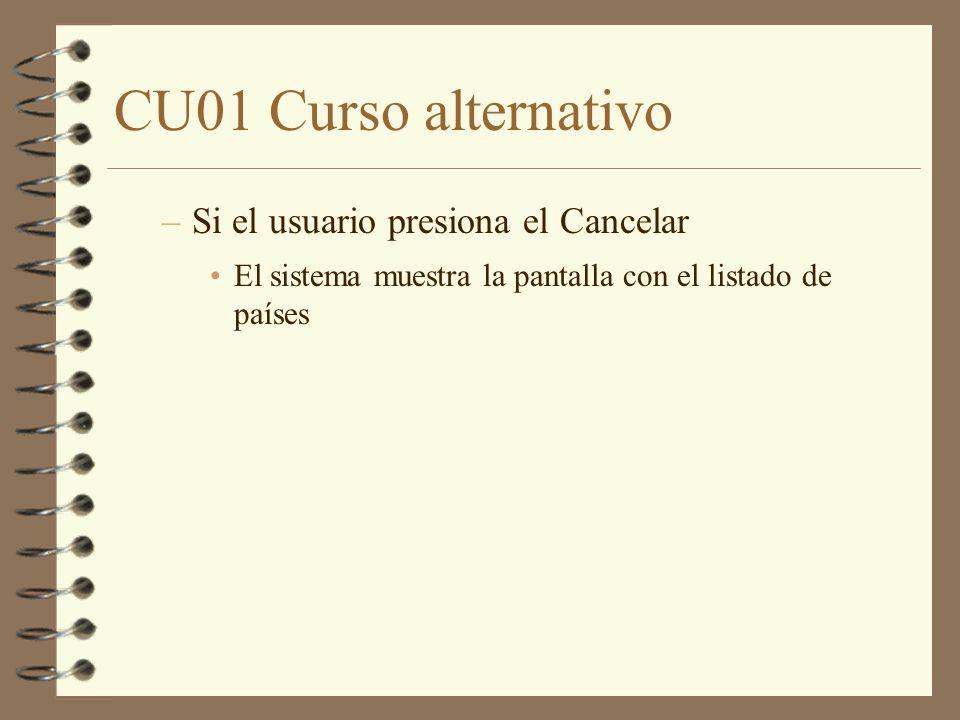 CU01 Curso alternativo Si el usuario presiona el Cancelar