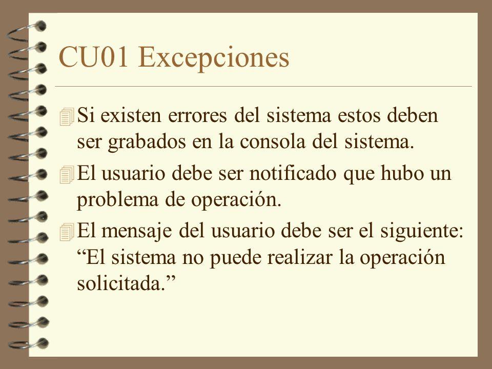 CU01 Excepciones Si existen errores del sistema estos deben ser grabados en la consola del sistema.