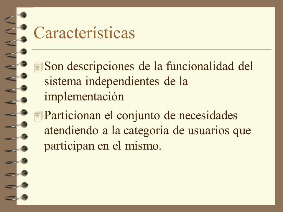 Características Son descripciones de la funcionalidad del sistema independientes de la implementación.