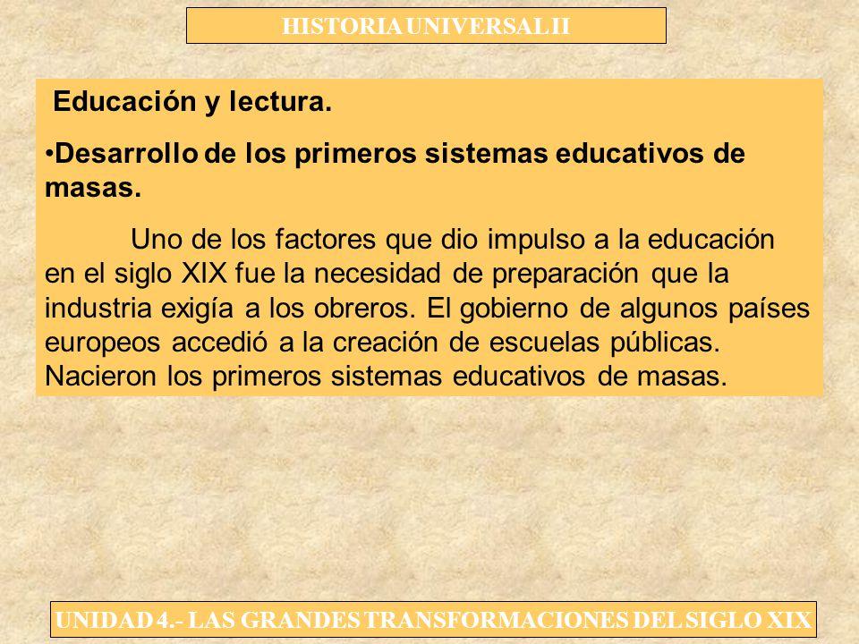 Educación y lectura. Desarrollo de los primeros sistemas educativos de masas.