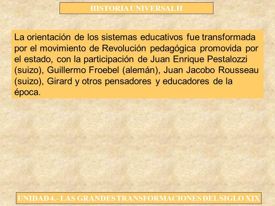 La orientación de los sistemas educativos fue transformada por el movimiento de Revolución pedagógica promovida por el estado, con la participación de Juan Enrique Pestalozzi (suizo), Guillermo Froebel (alemán), Juan Jacobo Rousseau (suizo), Girard y otros pensadores y educadores de la época.
