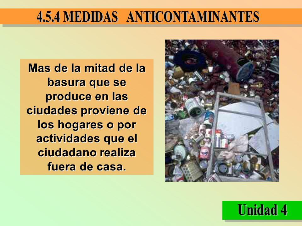 Mas de la mitad de la basura que se produce en las ciudades proviene de los hogares o por actividades que el ciudadano realiza fuera de casa.
