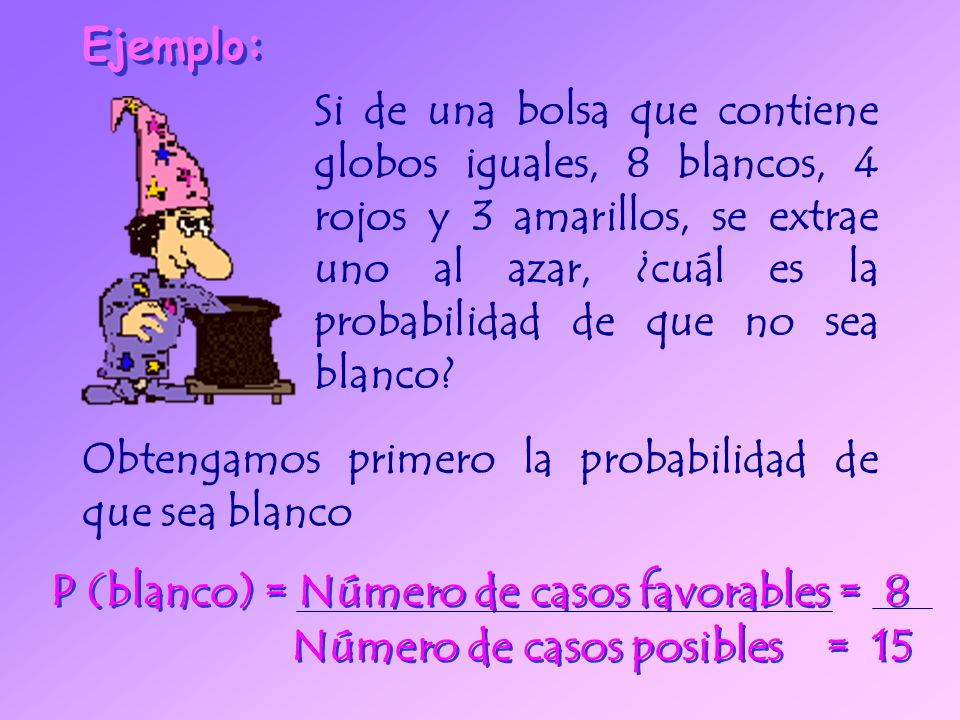 P (blanco) = Número de casos favorables = 8