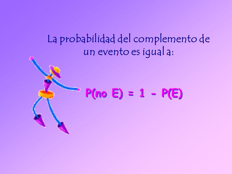 La probabilidad del complemento de un evento es igual a: