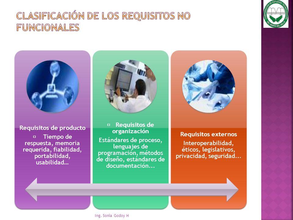 Clasificación de los requisitos no funcionales