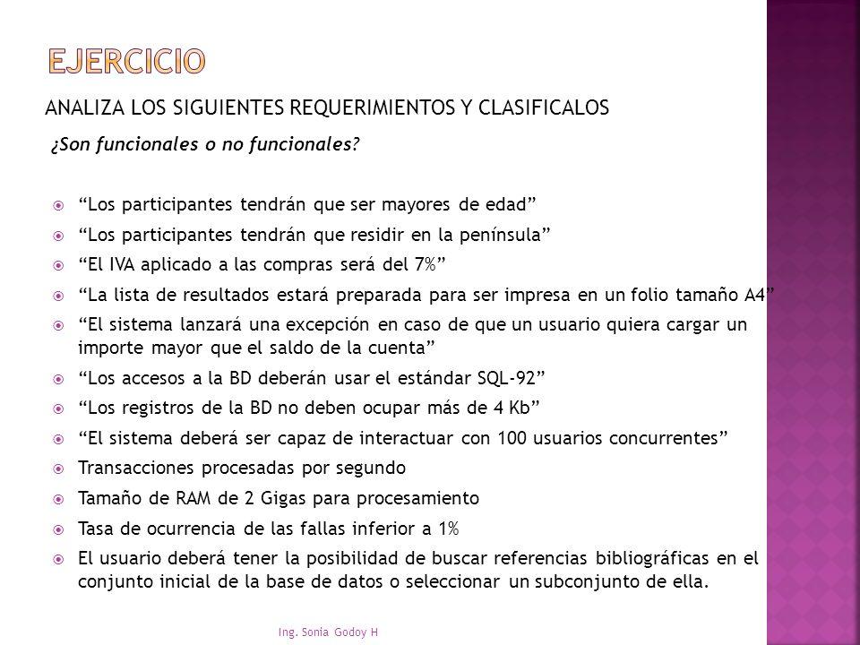 EJERCICIO ANALIZA LOS SIGUIENTES REQUERIMIENTOS Y CLASIFICALOS