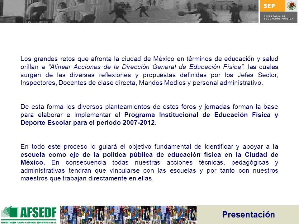 Los grandes retos que afronta la ciudad de México en términos de educación y salud orillan a Alinear Acciones de la Dirección General de Educación Física , las cuales surgen de las diversas reflexiones y propuestas definidas por los Jefes Sector, Inspectores, Docentes de clase directa, Mandos Medios y personal administrativo.
