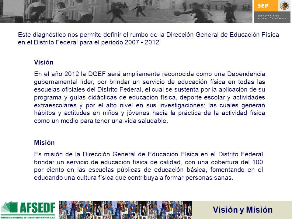Este diagnóstico nos permite definir el rumbo de la Dirección General de Educación Física en el Distrito Federal para el periodo 2007 - 2012