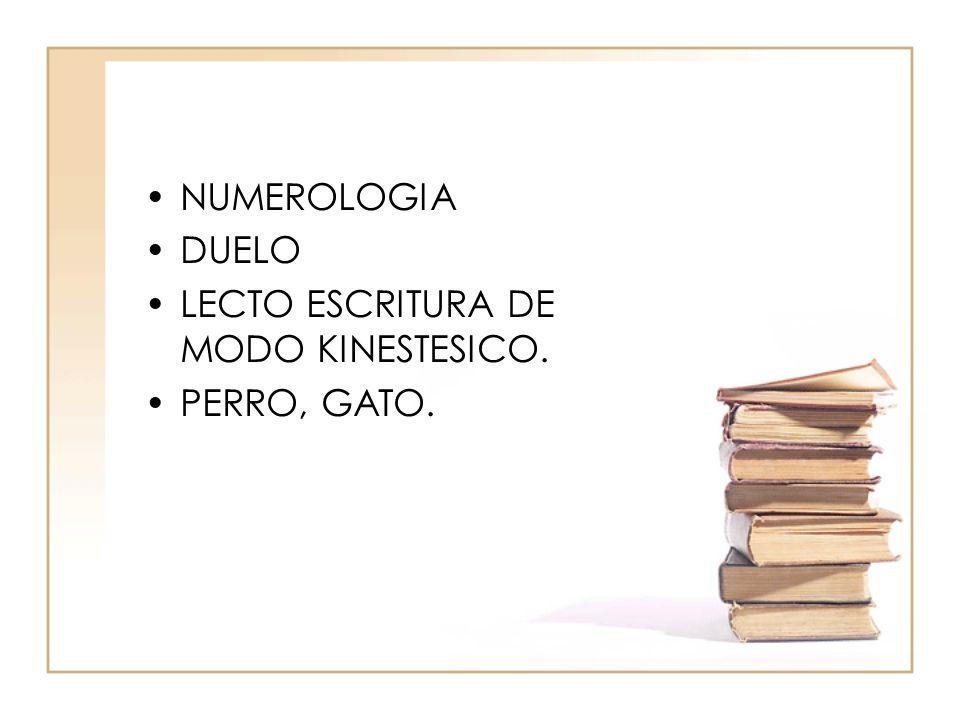 NUMEROLOGIA DUELO LECTO ESCRITURA DE MODO KINESTESICO. PERRO, GATO.