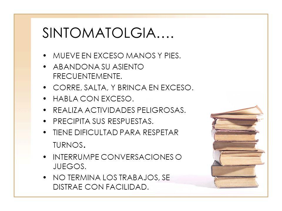 SINTOMATOLGIA…. MUEVE EN EXCESO MANOS Y PIES.