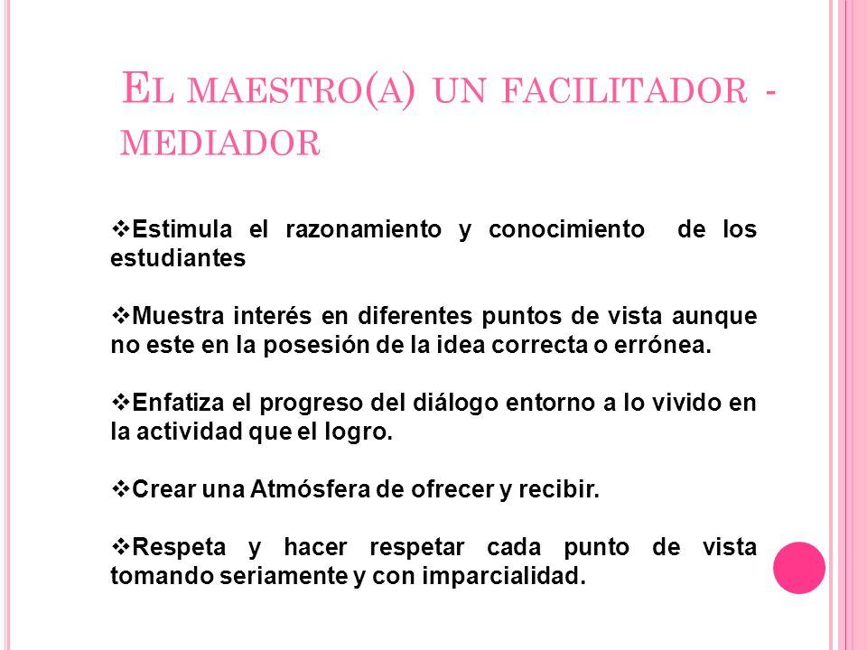 El maestro(a) un facilitador -mediador