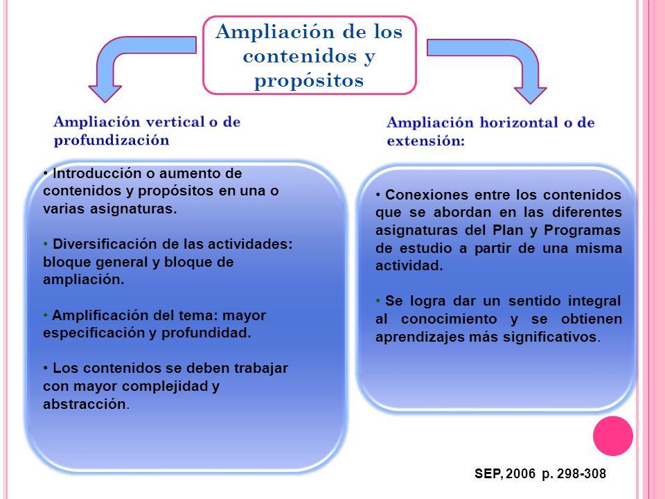 Ampliación de los contenidos y propósitos
