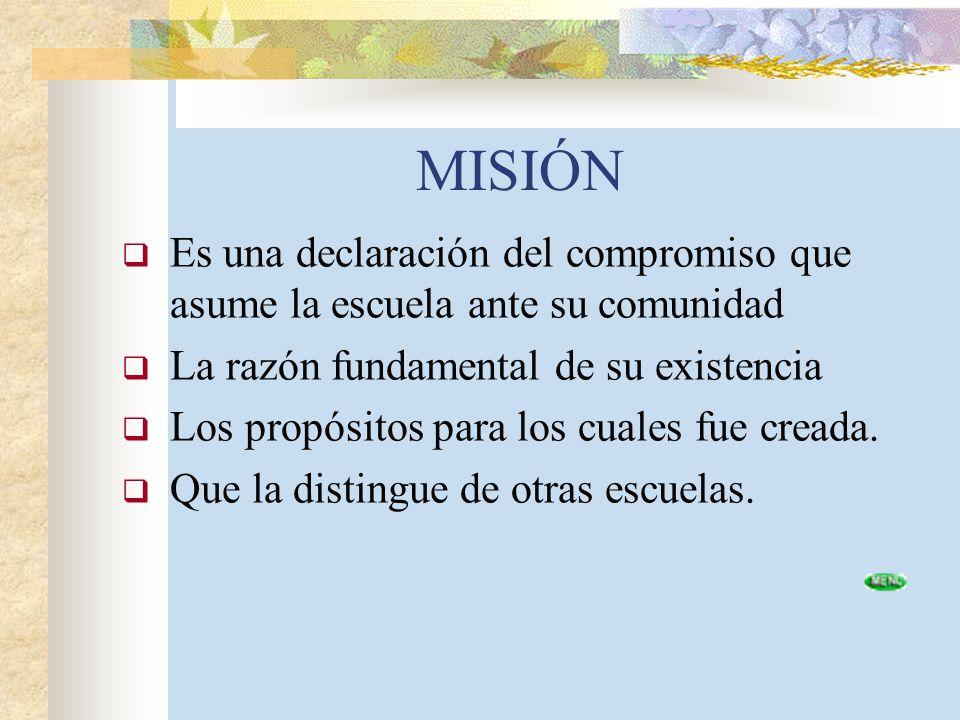 MISIÓN Es una declaración del compromiso que asume la escuela ante su comunidad. La razón fundamental de su existencia.