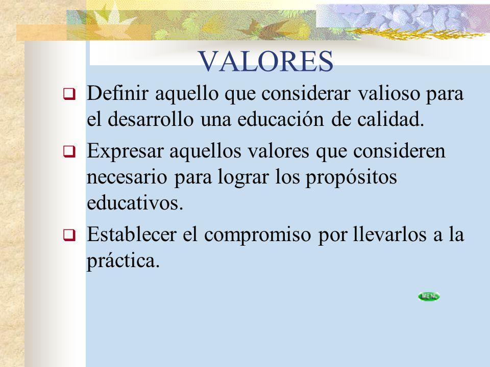 VALORES Definir aquello que considerar valioso para el desarrollo una educación de calidad.