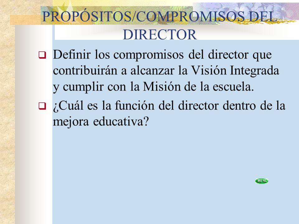 PROPÓSITOS/COMPROMISOS DEL DIRECTOR