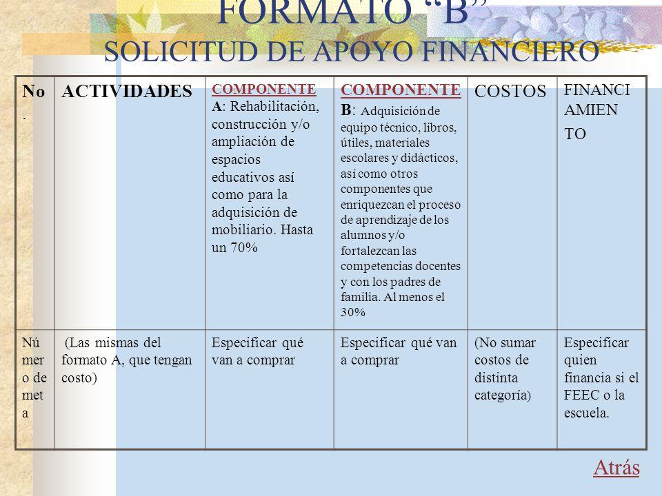 FORMATO B SOLICITUD DE APOYO FINANCIERO