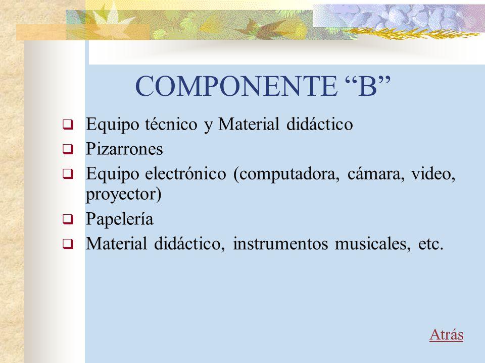 COMPONENTE B Equipo técnico y Material didáctico Pizarrones