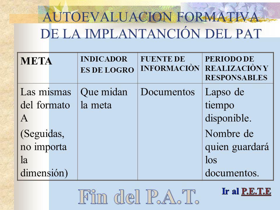 AUTOEVALUACION FORMATIVA DE LA IMPLANTANCIÓN DEL PAT