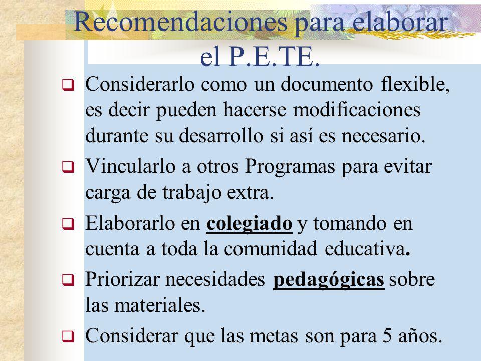 Recomendaciones para elaborar el P.E.TE.