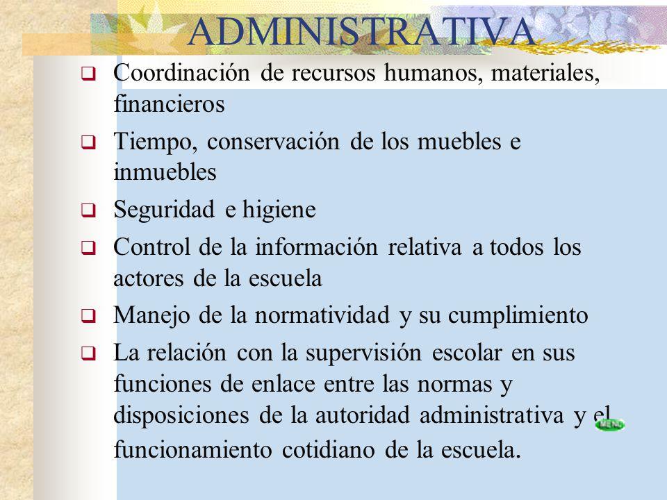 ADMINISTRATIVA Coordinación de recursos humanos, materiales, financieros. Tiempo, conservación de los muebles e inmuebles.