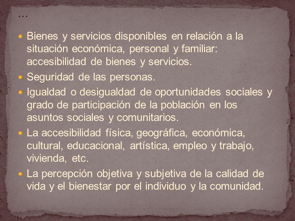… Bienes y servicios disponibles en relación a la situación económica, personal y familiar: accesibilidad de bienes y servicios.