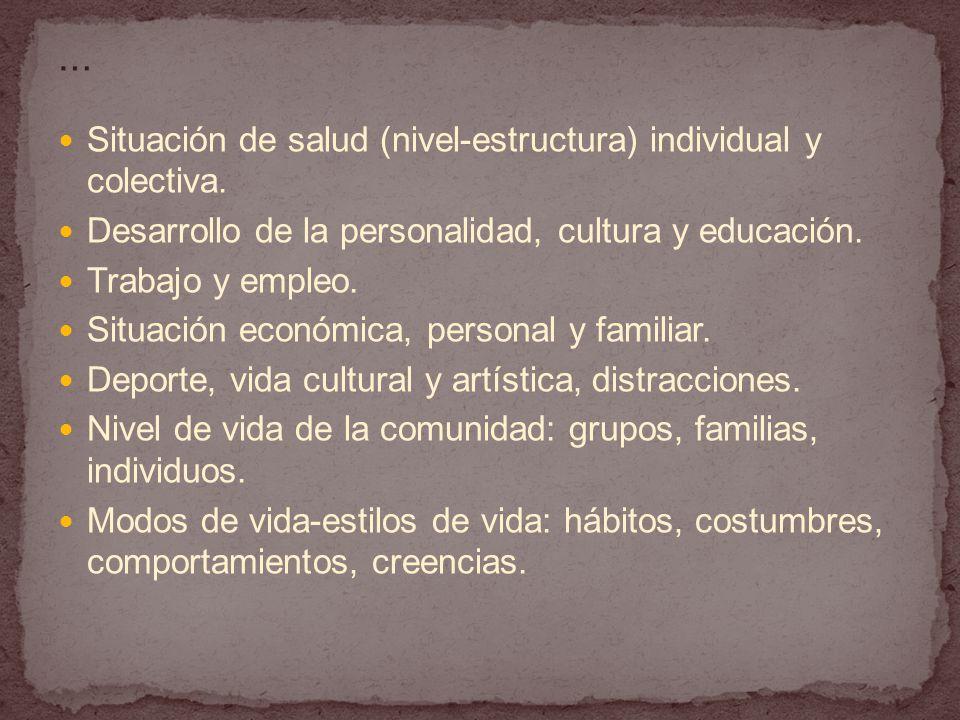 … Situación de salud (nivel-estructura) individual y colectiva. Desarrollo de la personalidad, cultura y educación.