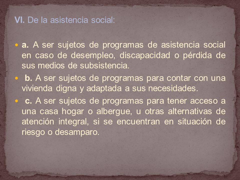 VI. De la asistencia social: