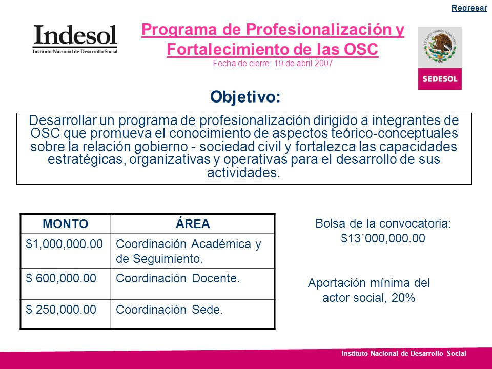 Programa de Profesionalización y Fortalecimiento de las OSC