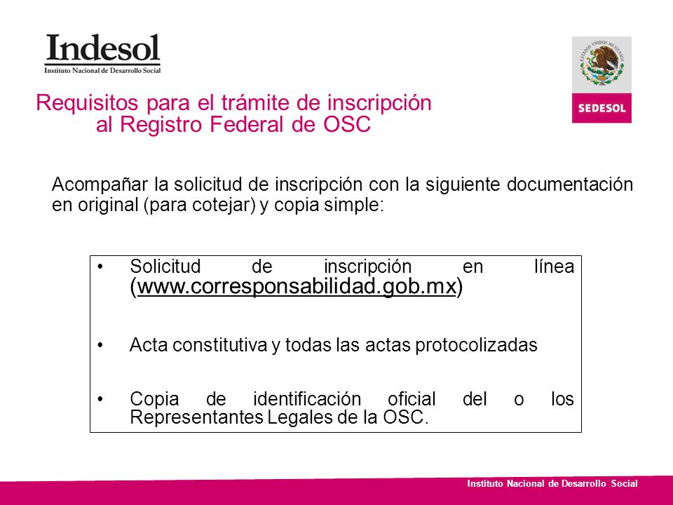 Requisitos para el trámite de inscripción al Registro Federal de OSC