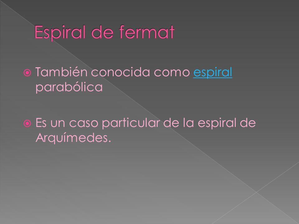 Espiral de fermat También conocida como espiral parabólica