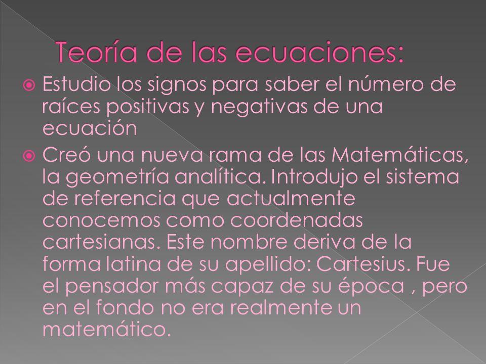 Teoría de las ecuaciones:
