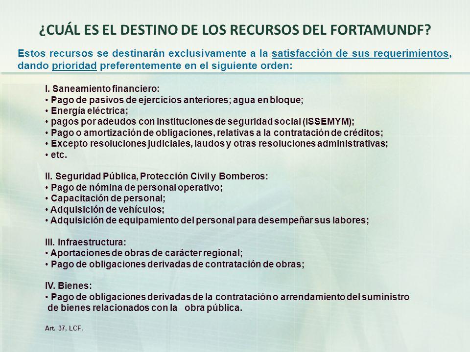 ¿CUÁL ES EL DESTINO DE LOS RECURSOS DEL FORTAMUNDF