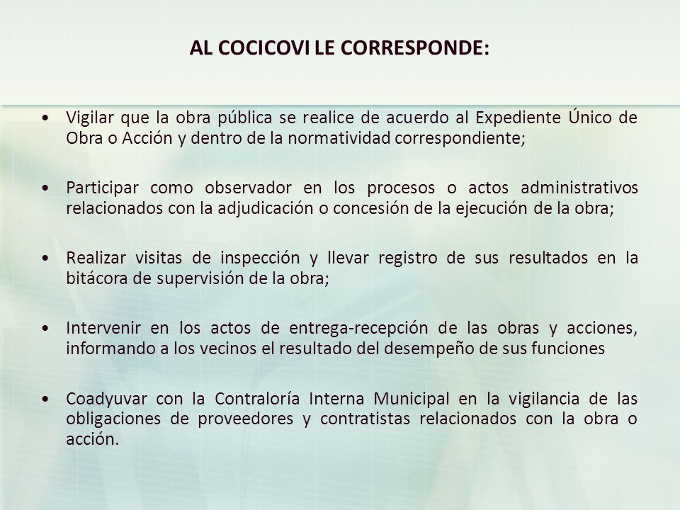 AL COCICOVI LE CORRESPONDE: