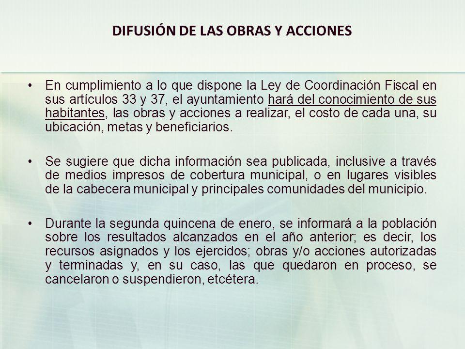 DIFUSIÓN DE LAS OBRAS Y ACCIONES