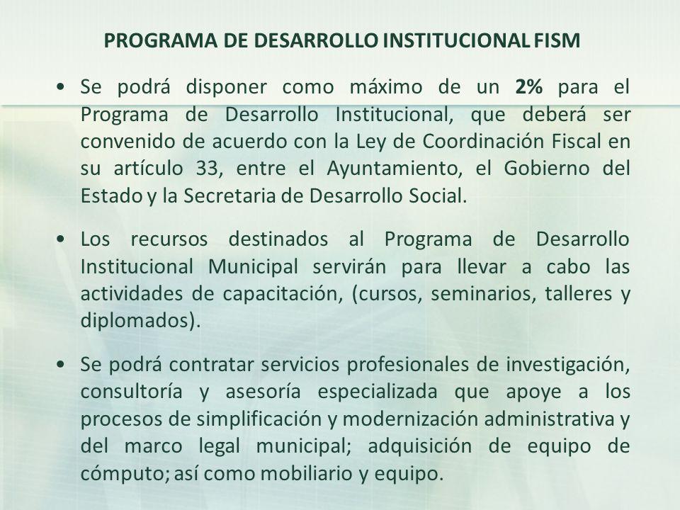 PROGRAMA DE DESARROLLO INSTITUCIONAL FISM
