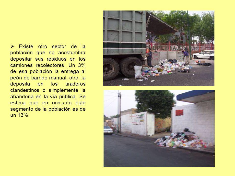 Existe otro sector de la población que no acostumbra depositar sus residuos en los camiones recolectores.