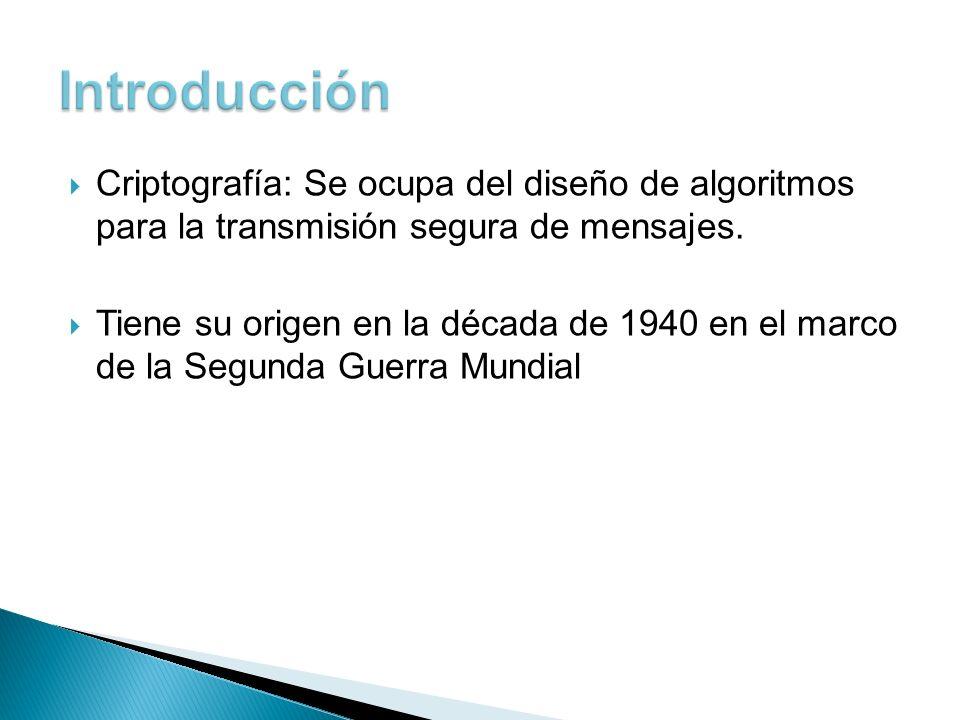 Introducción Criptografía: Se ocupa del diseño de algoritmos para la transmisión segura de mensajes.