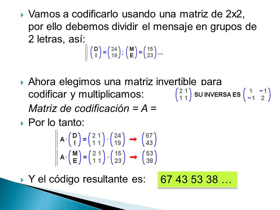 Vamos a codificarlo usando una matriz de 2x2, por ello debemos dividir el mensaje en grupos de 2 letras, así: