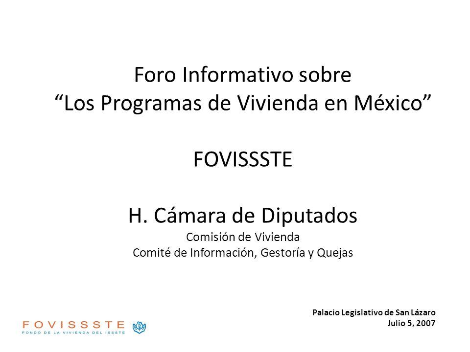 Foro Informativo sobre Los Programas de Vivienda en México FOVISSSTE