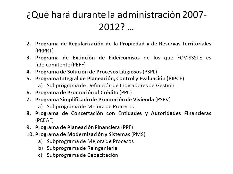 ¿Qué hará durante la administración 2007-2012 …