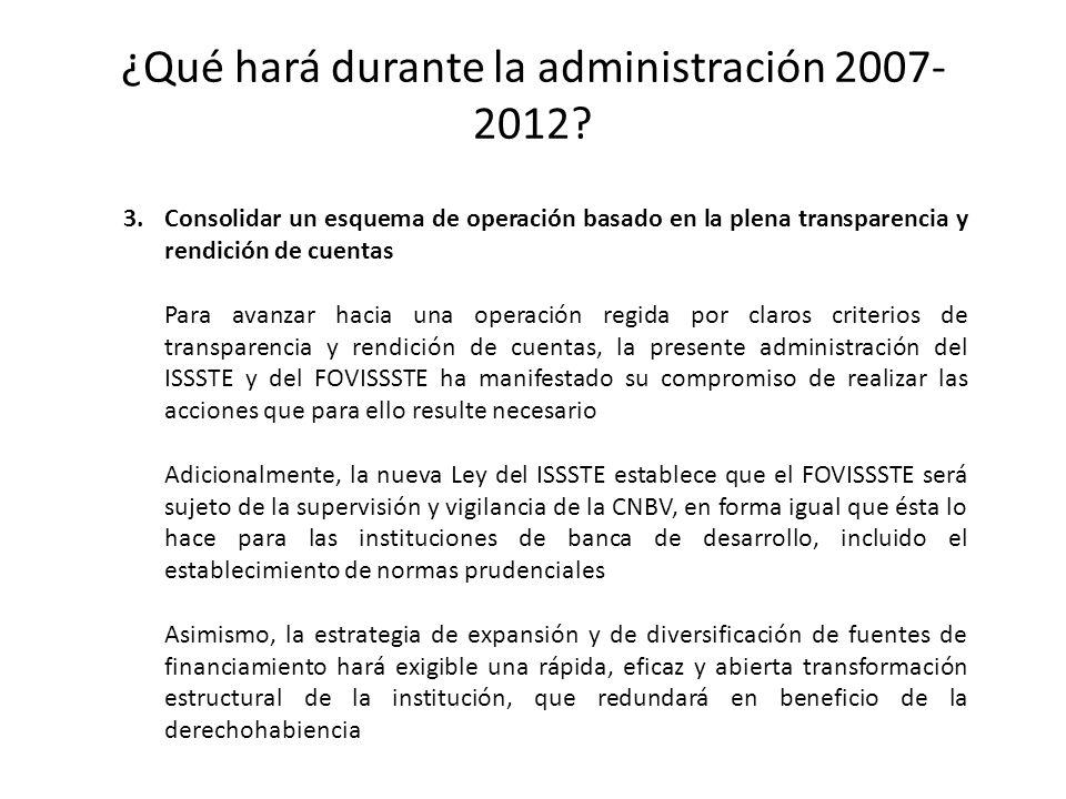 ¿Qué hará durante la administración 2007-2012